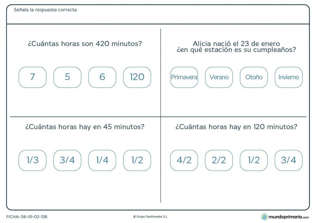 Ficha de equivalencia de horas para niños de 9 años