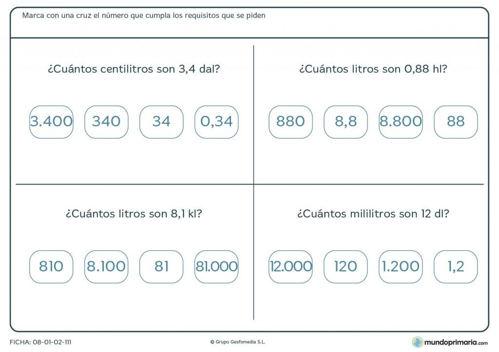 Ficha de equivalencia de litros para niños de primaria