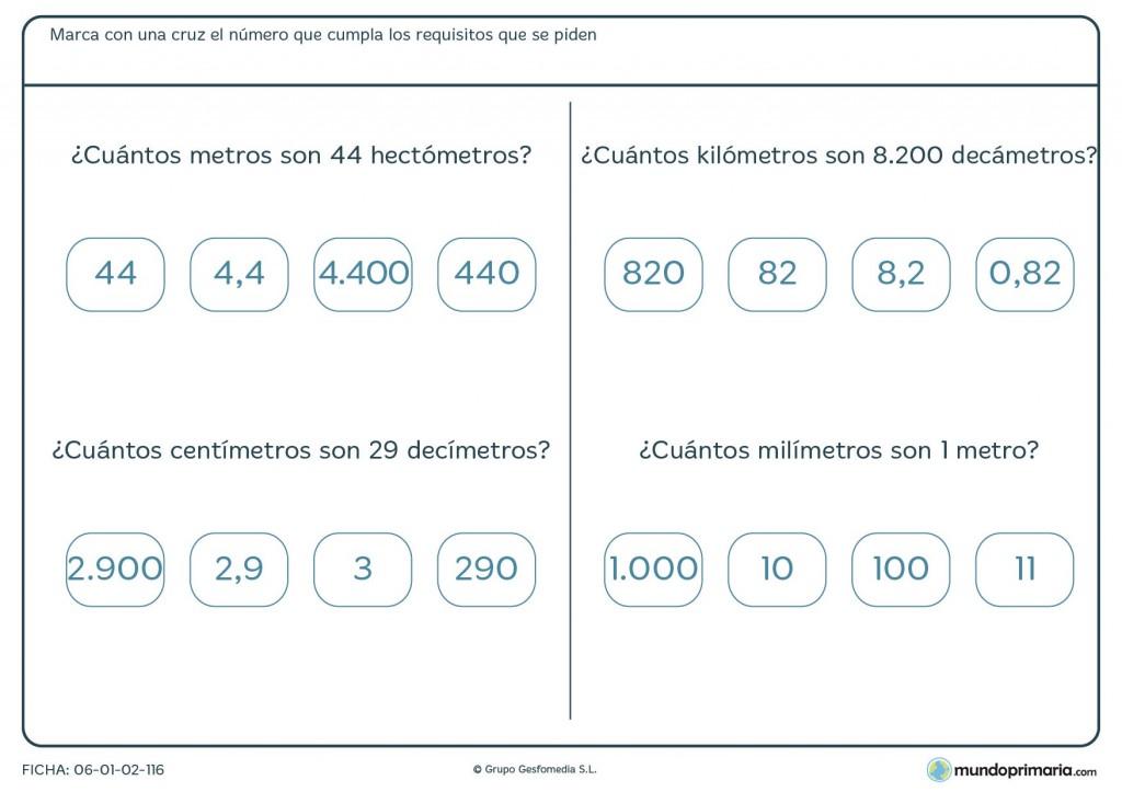 Ficha de equivalencia de medidas para 4º de primaria
