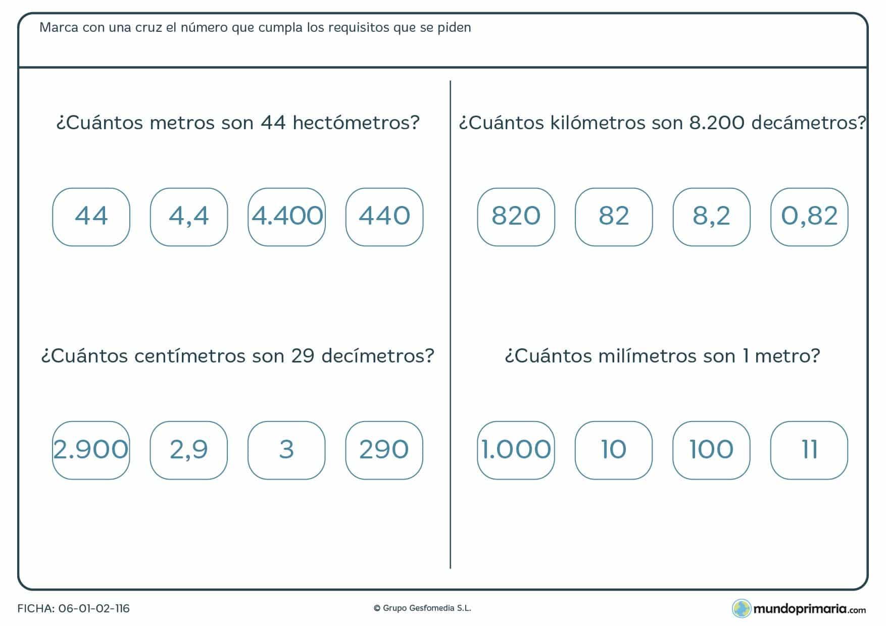 Ficha de equivalencia de medidas en la que deberás señalar la medida que se corresponde con la del enunciado.