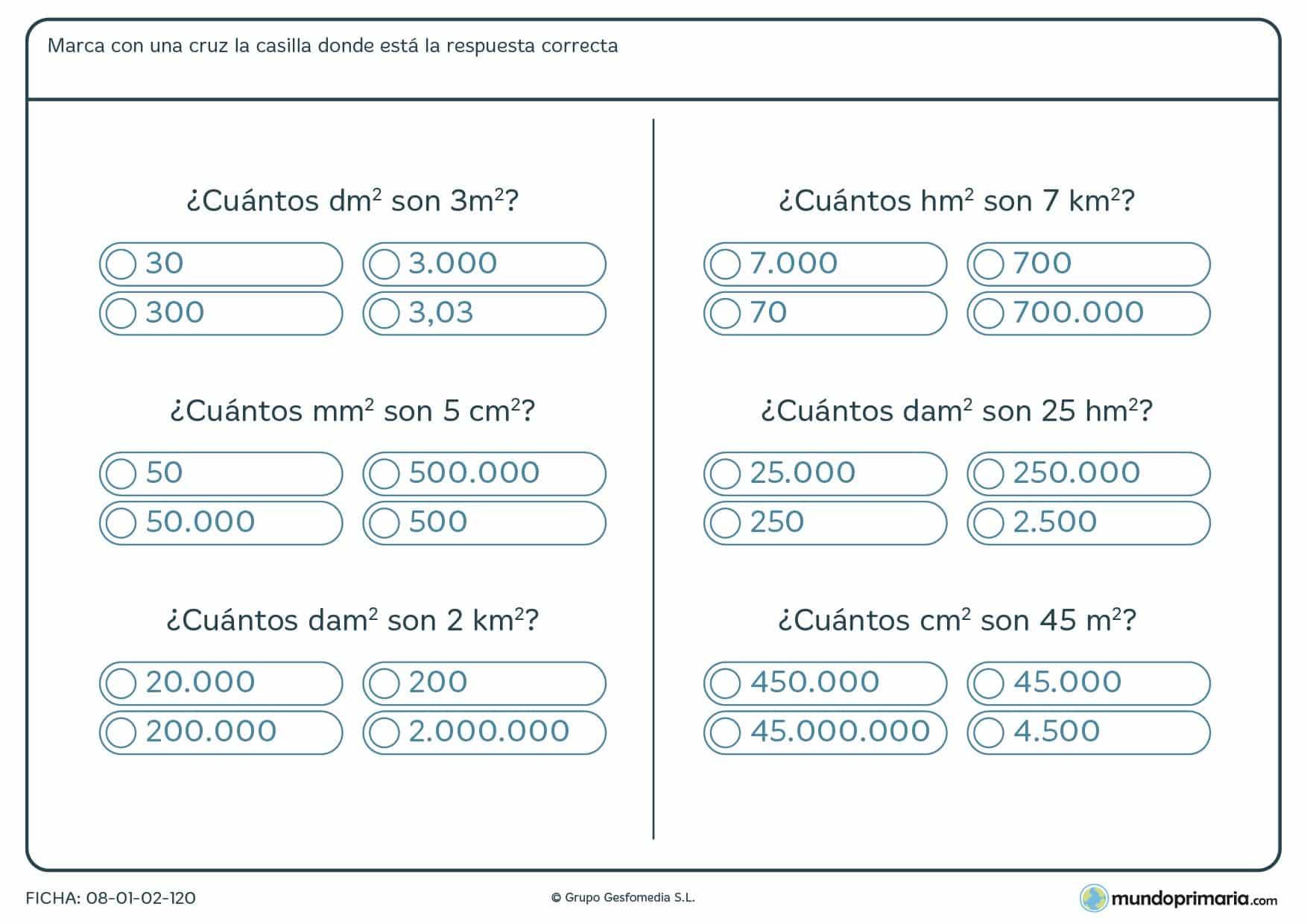 Ficha de equivalencia de medidas con 6 ejercicios prácticos para resolver.