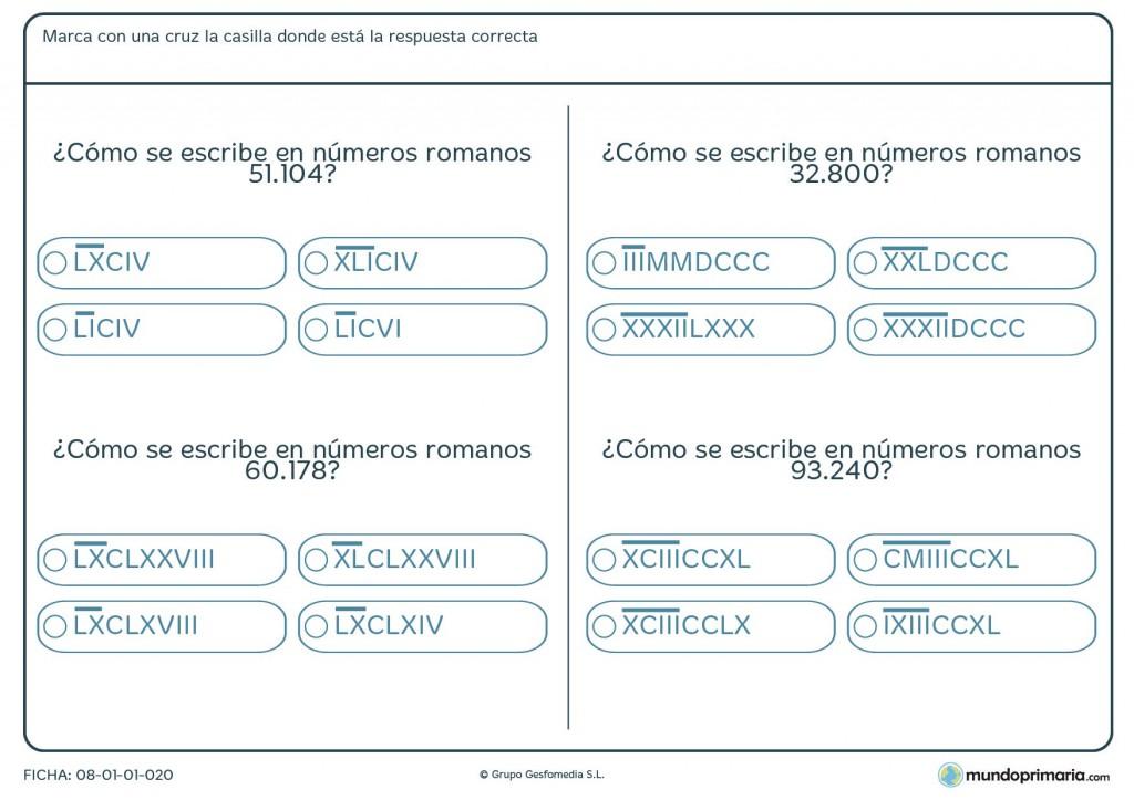 Ficha de equivalencia de números romanos para 6º de primaria