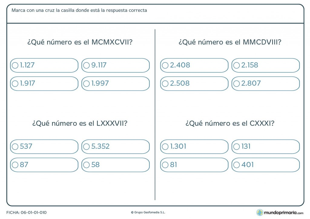 Ficha de equivalencia de números romanos para primaria
