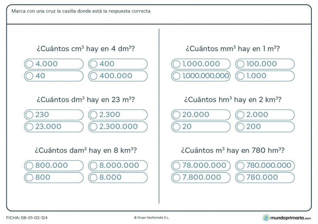 Ficha de equivalencia de volúmenes para primaria