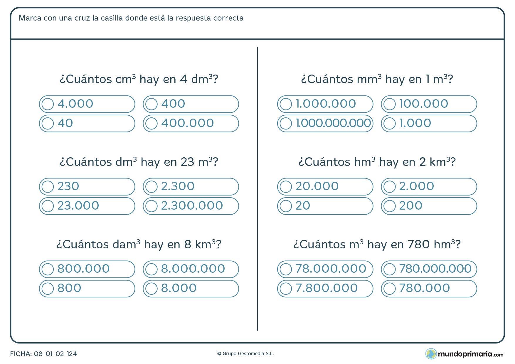 Ficha de equivalencia de volúmenes en la que has de marcar la casilla con la respuesta correcta.