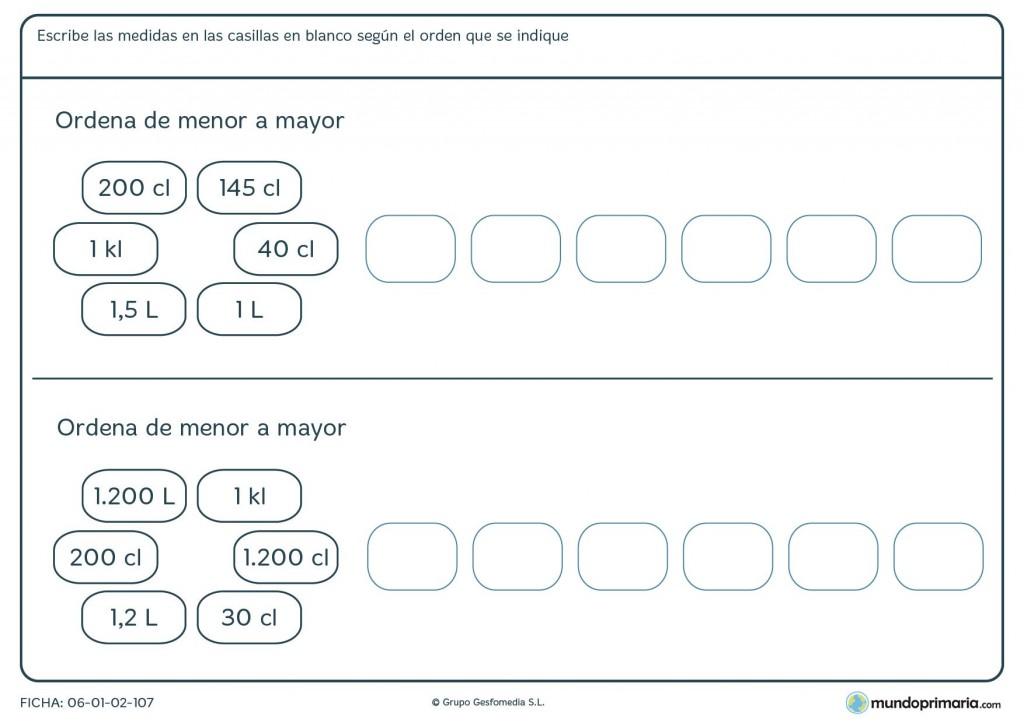 Ficha de escribir medidas para 4º de primaria