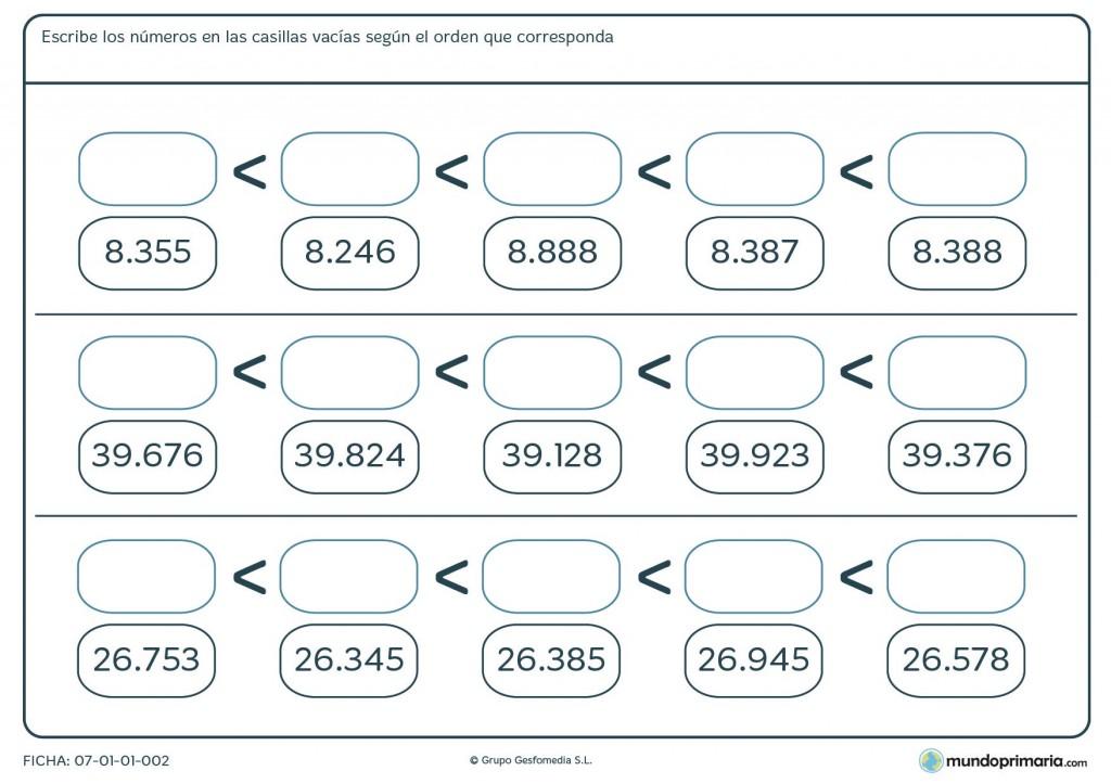 Ficha de escribir números para primaria
