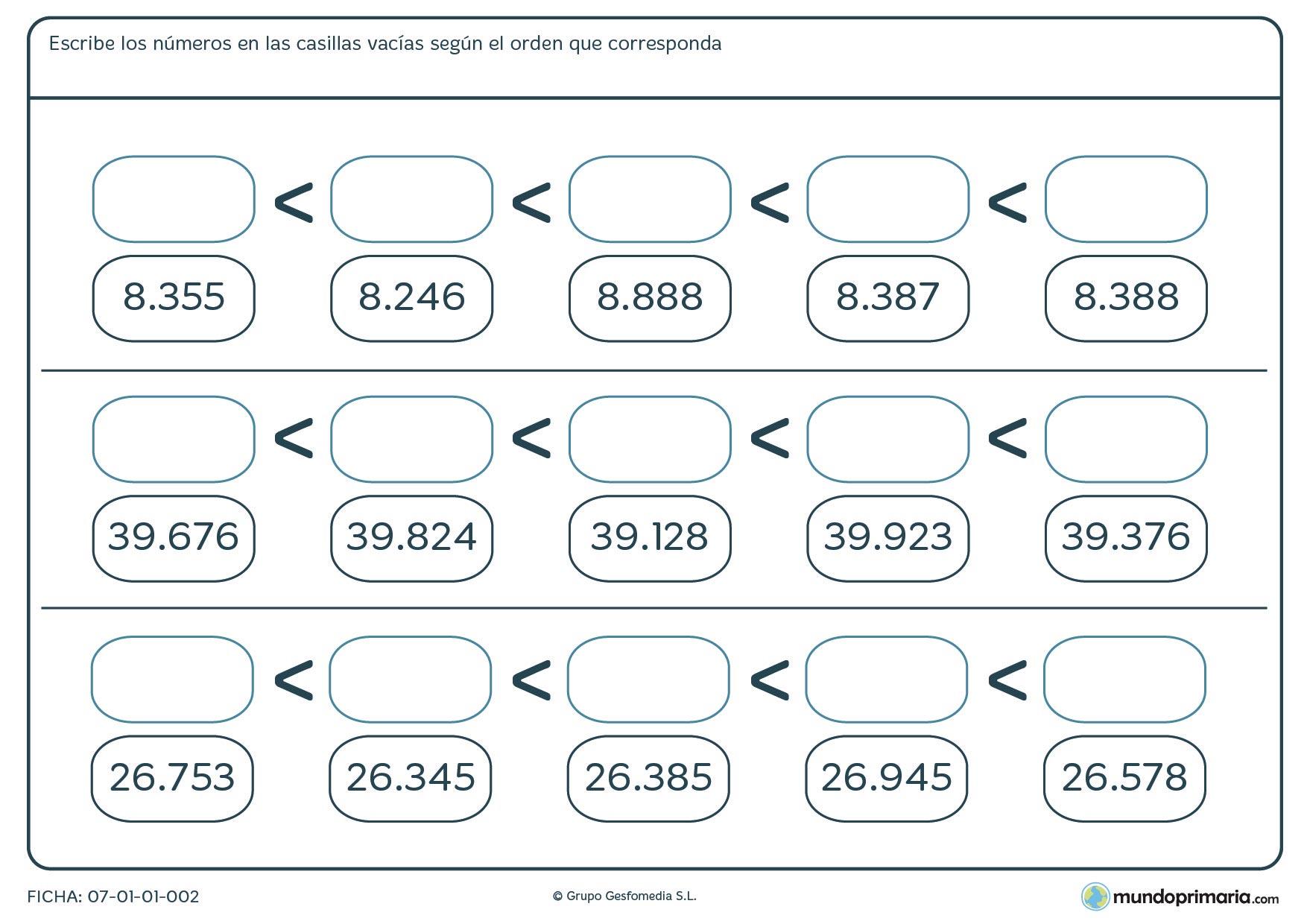 Ficha de escribir números de menor a mayor rellenando las casillas vacías en orden correcto.
