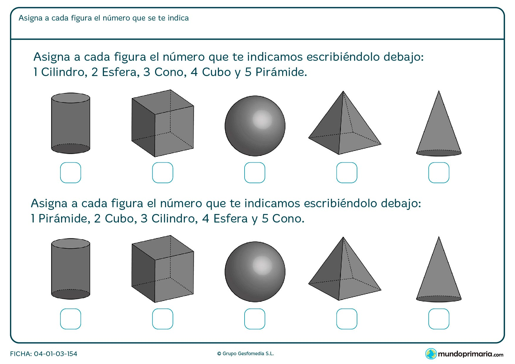Ficha de esferas y varias figuras más, para organizarlas por su correcto nombre.