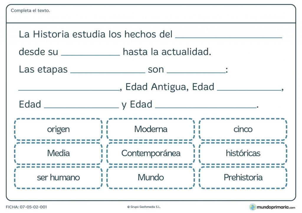 Ficha de etapas de la historia para primaria