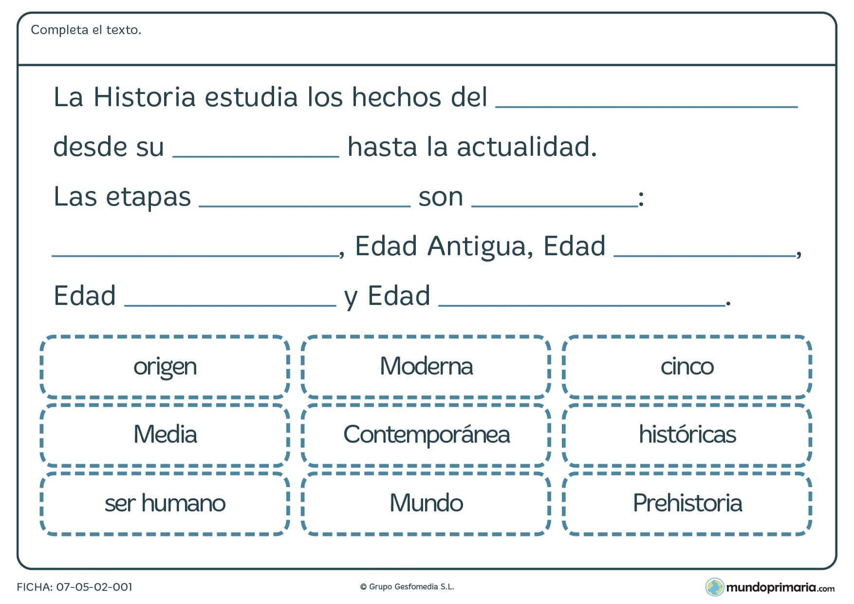 Ficha de etapas de la historia en la que hay que rellenar los campos vacío para llegar a obtener la definición de historia.