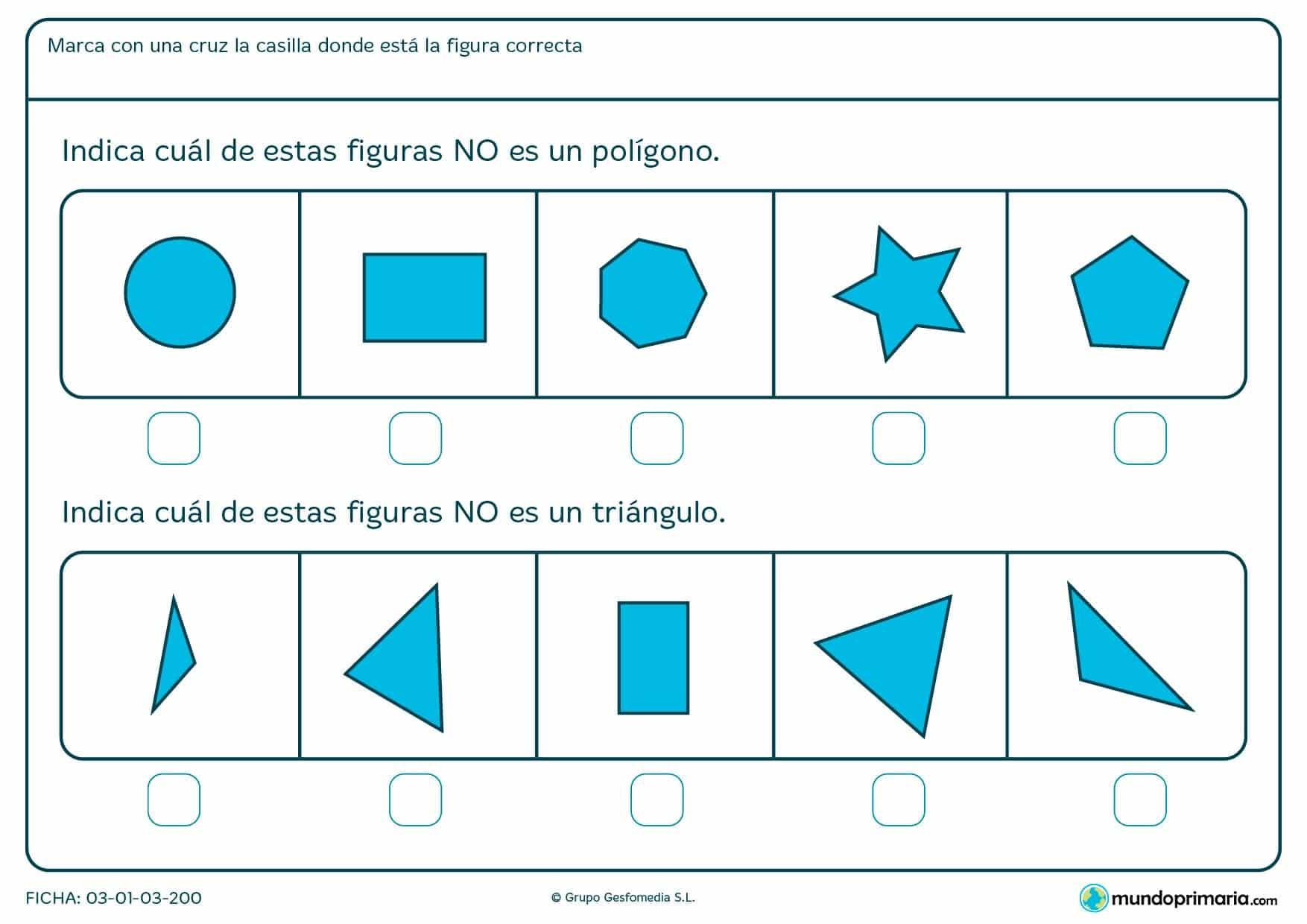 Ficha de excluir poligonos para aopyo escolar de niños de 1º de primaria