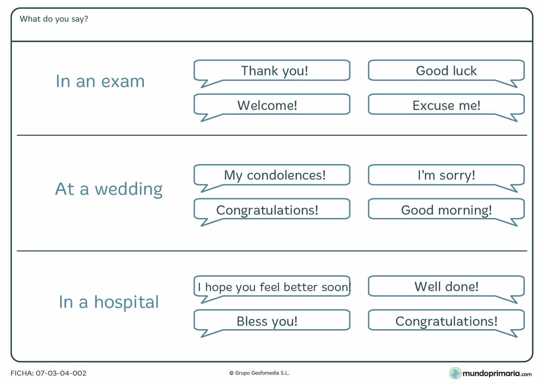 Esta ficha de expresiones en inglés es un ejercicio de vocabulario en inglés para niños de 10 a 11 años