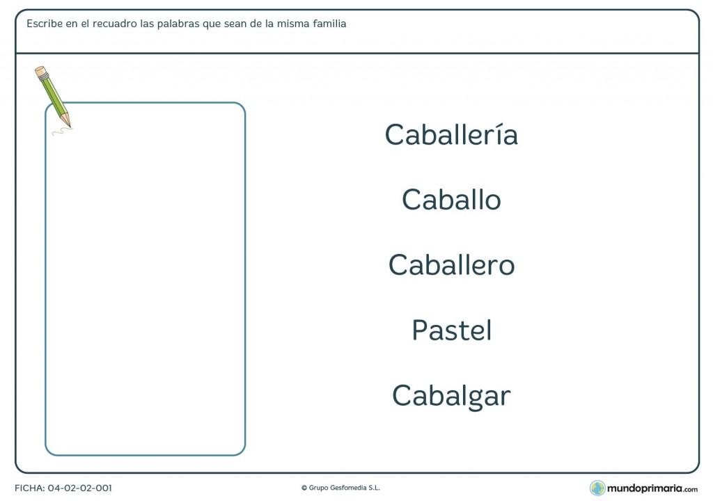Ficha de familias de palabras para primaria