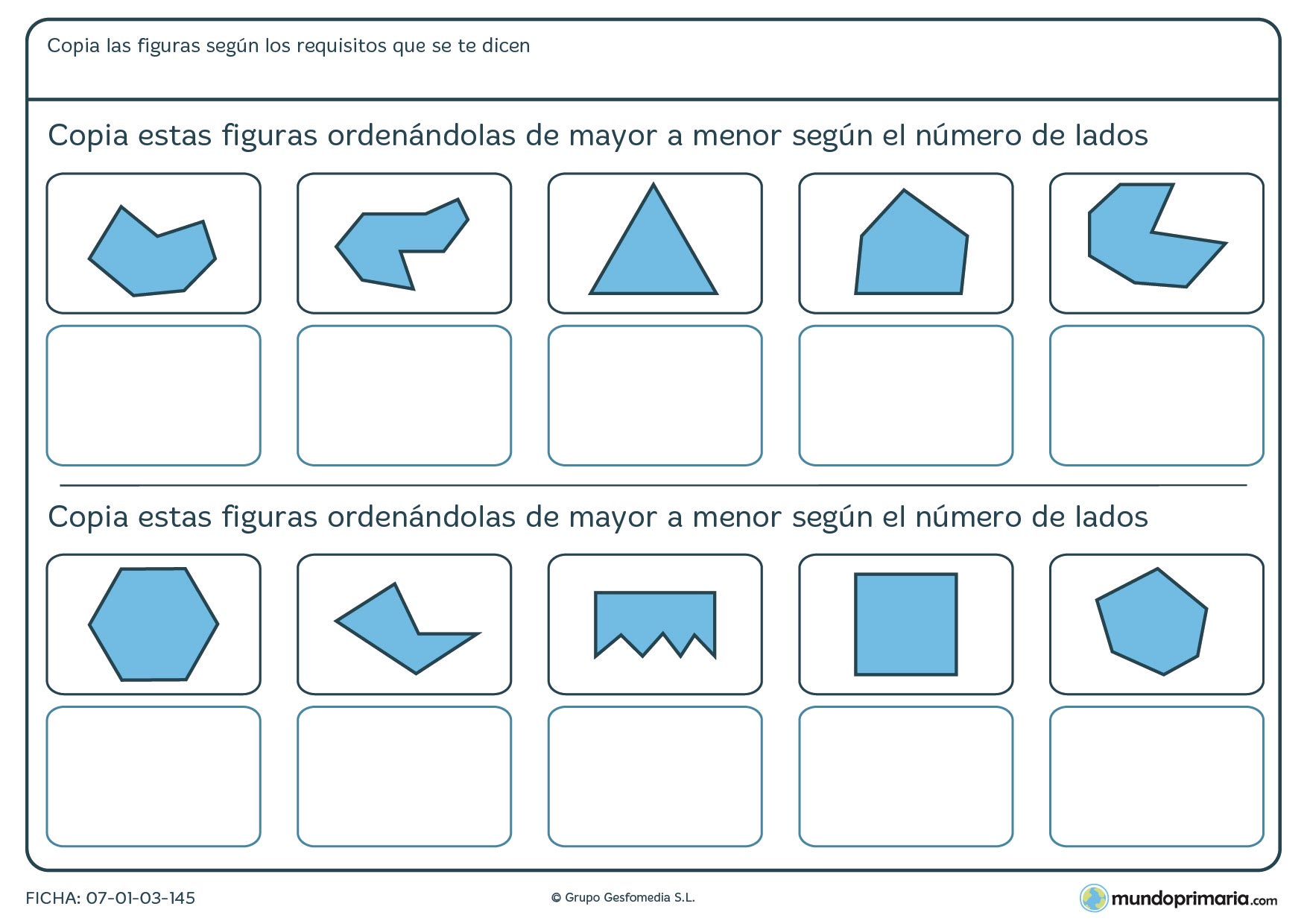 Ficha de figuras para ordenar figuras geométricas de mayor a menor según su número de lados.