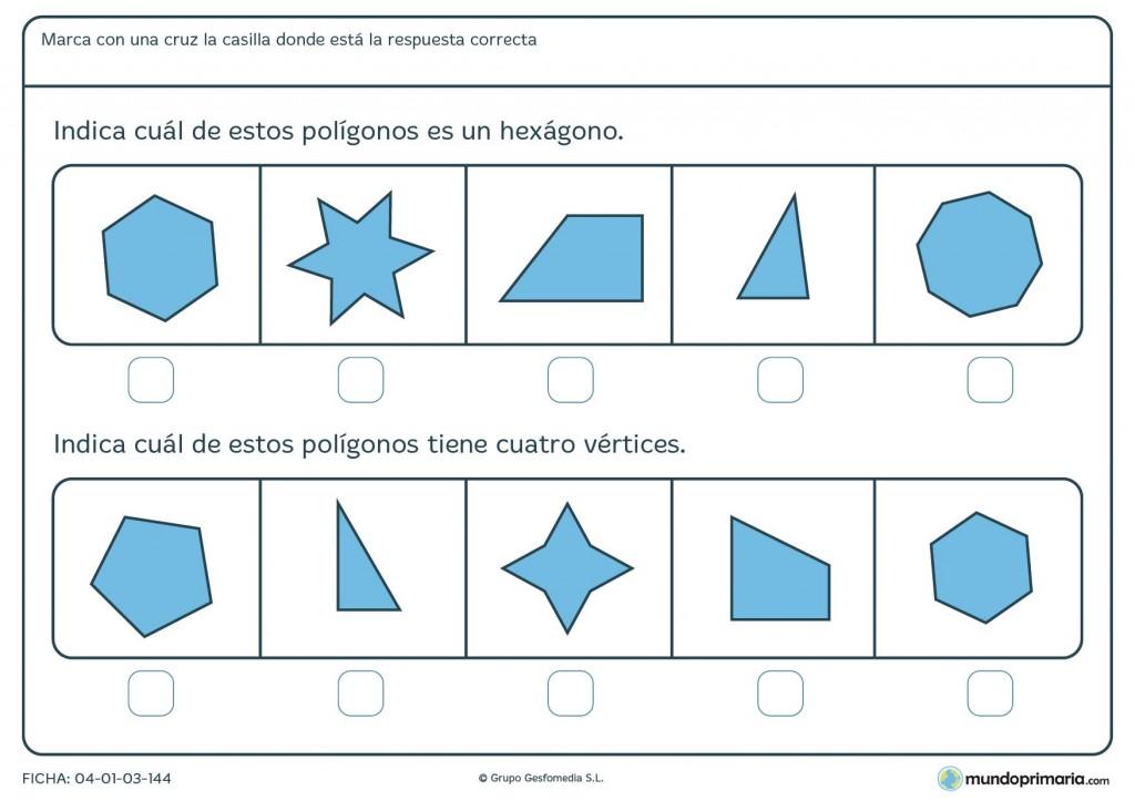 Ficha de figuras poligonales para primaria