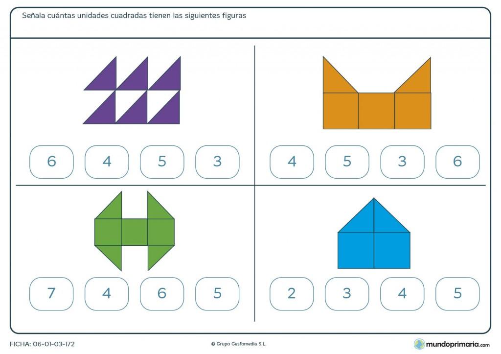 Ficha de figuras y unidades cuadradas para niños de primaria