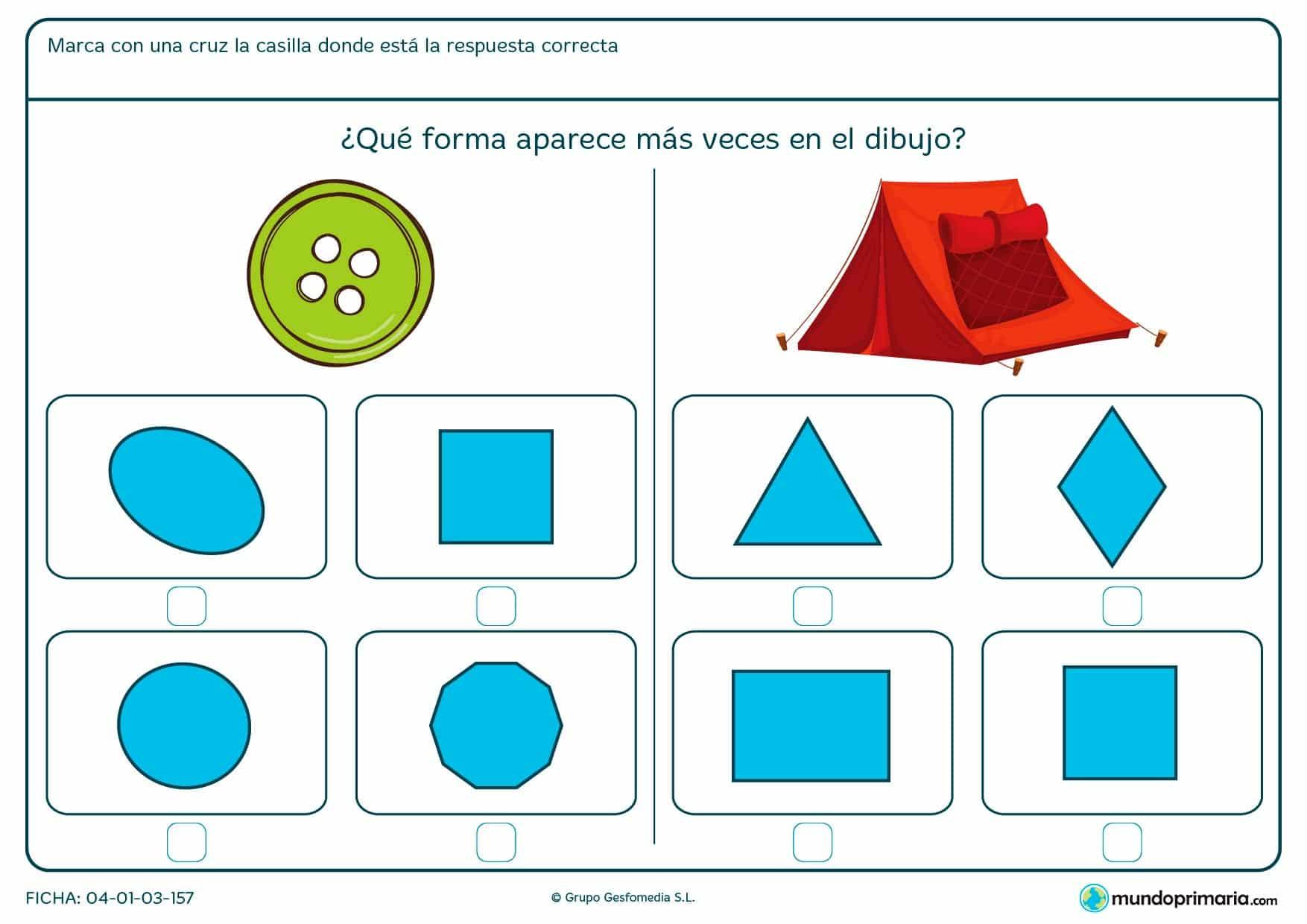 Ficha de forma de círculo, cuadrado, triángulo,…, busca y encuentra las que se asemejan a los dibujos que te mostramos.
