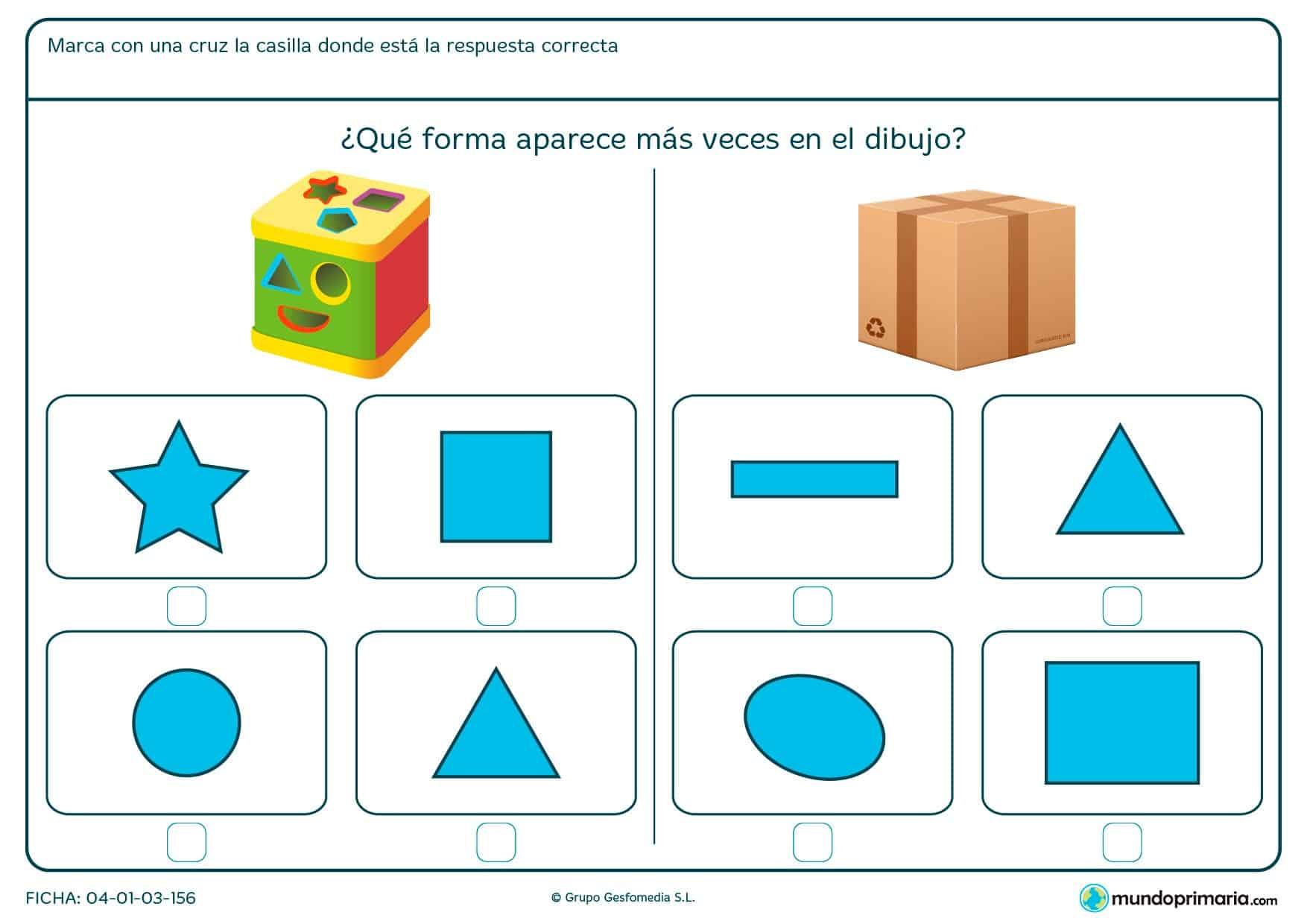 Ficha de forma de cuadrado y varias más en la que deberás identificar un objeto con su correspodiente figura geométrica.
