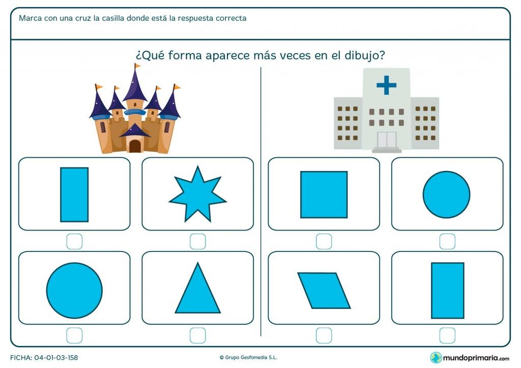 Ficha de forma de triángulo para niños de primaria