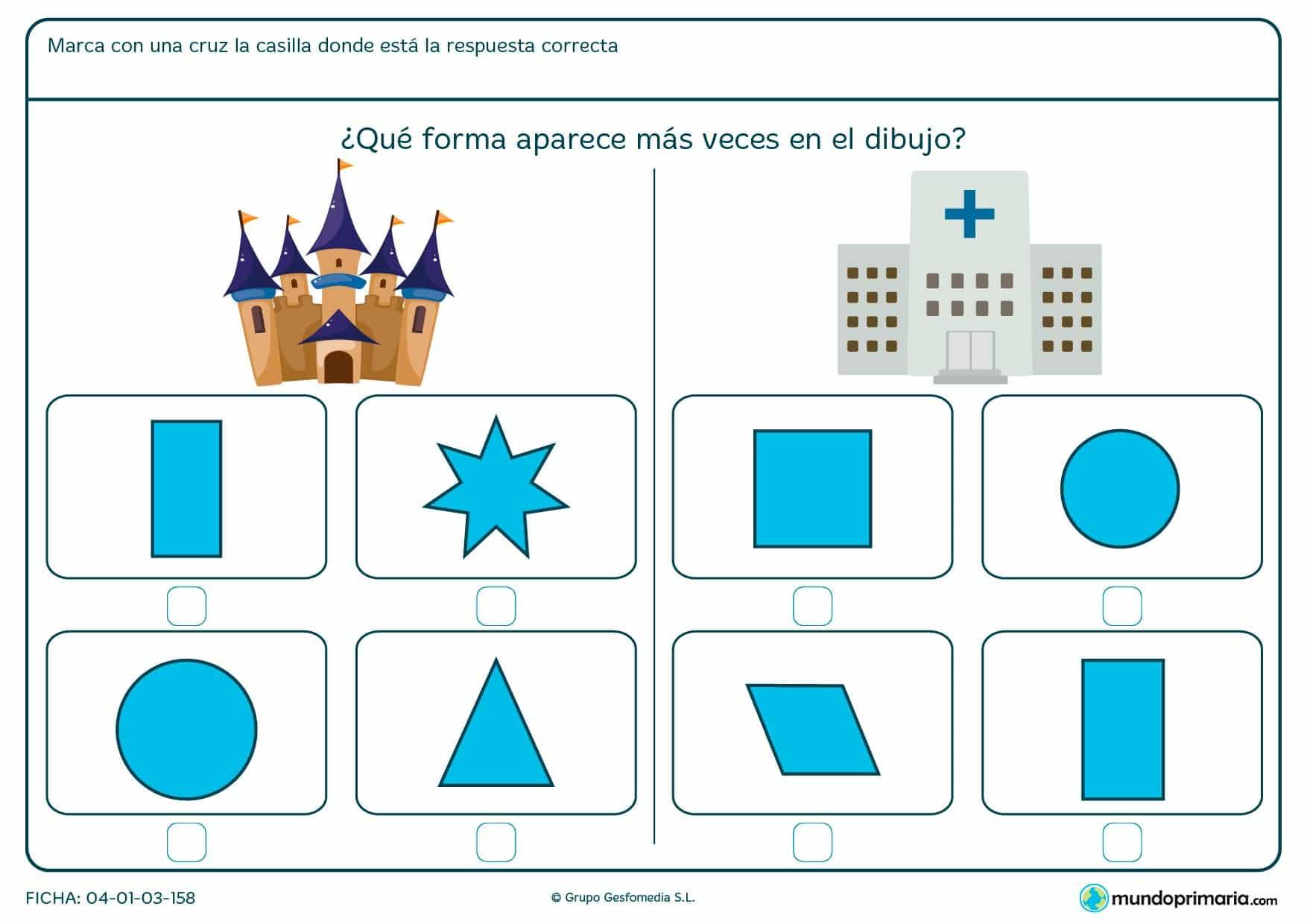 Ficha de forma de triángulo y más, señala que figura aparece más en cada dibujo.