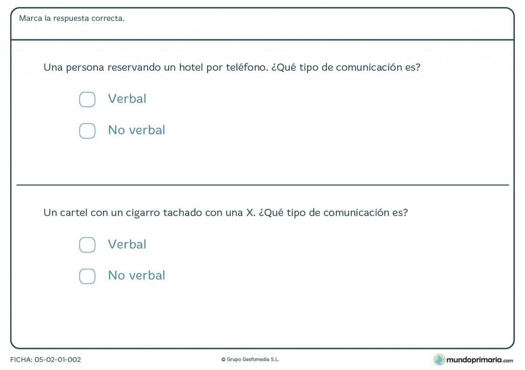 Ficha de formas de comunicación para primaria