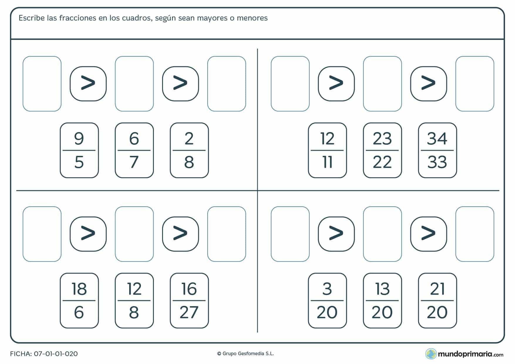 Ficha de fracciones de mayor a menor completando los espacios en blanco correctamente.