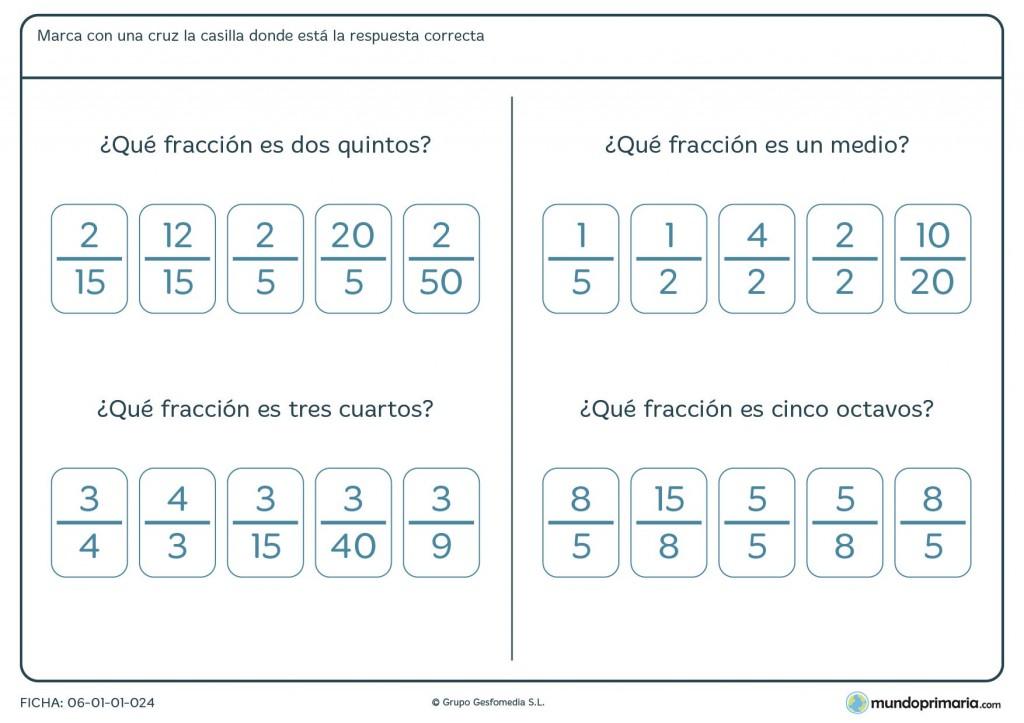 Ficha de fracciones para niños de primaria