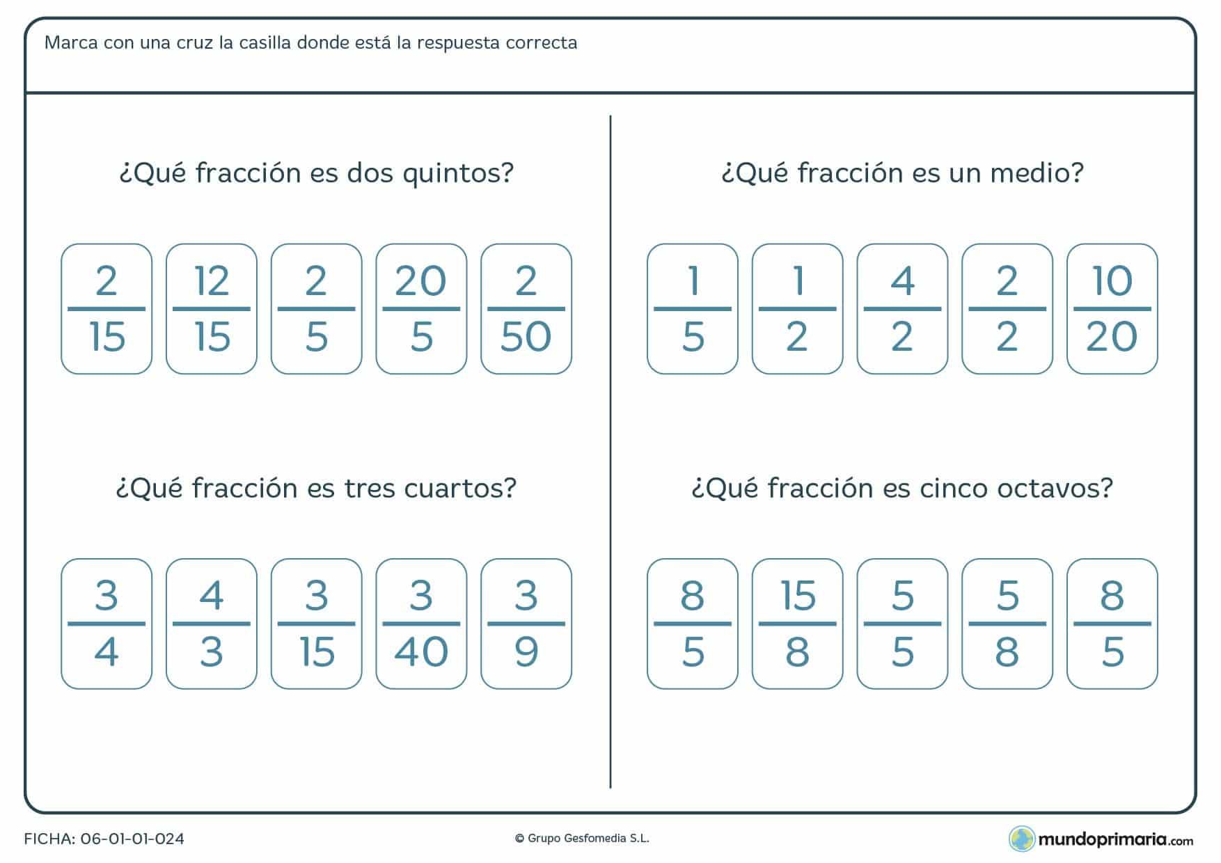 Ficha de fracciones para ni os de primaria mundo primaria for Para desarrollar una entrada practica