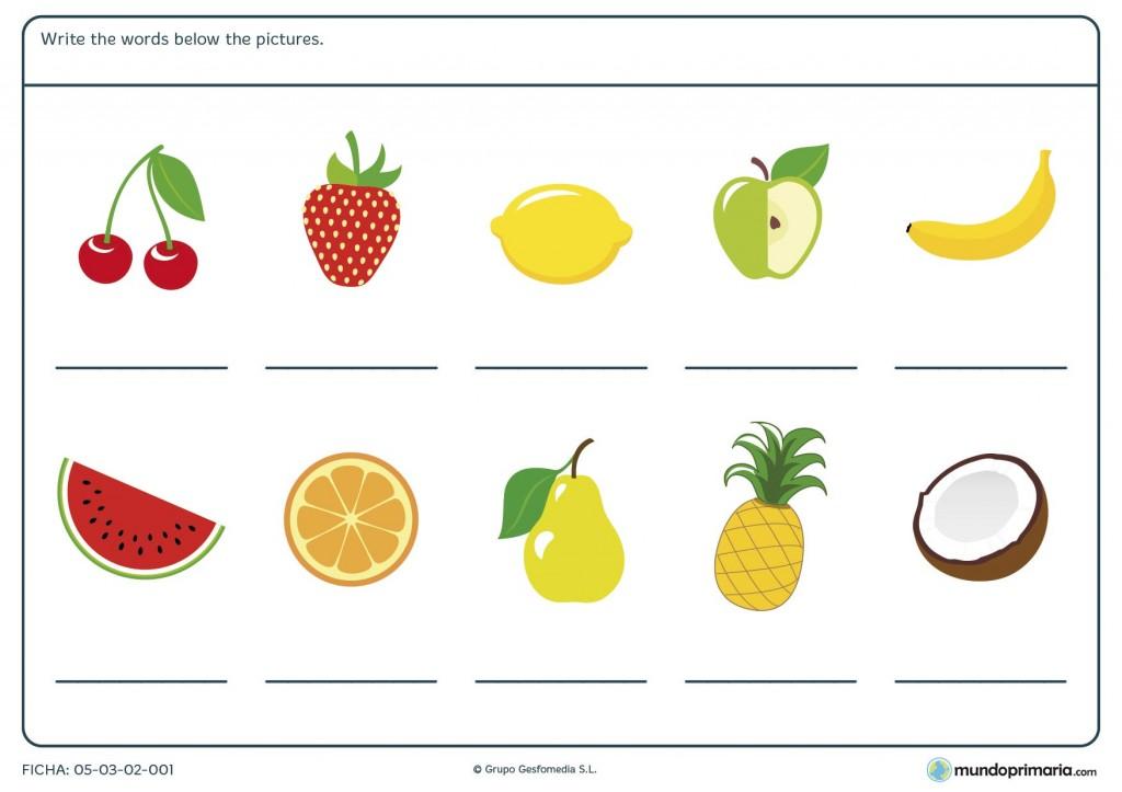 Ficha de fruits para tercero de primaria