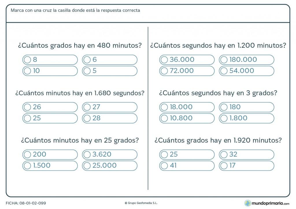 Ficha de grados a segundos para niños de primaria