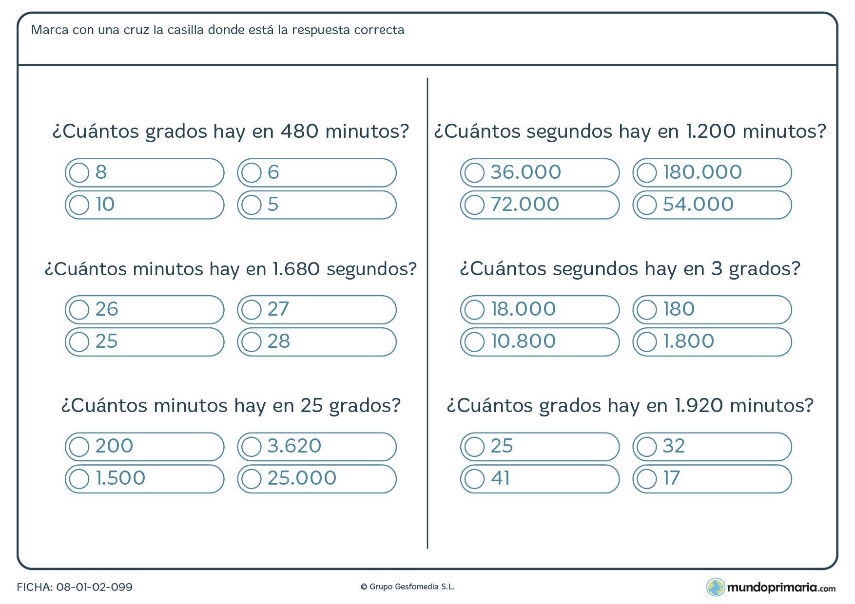 Ficha de grados a segundos y a minutos en esta ficha de cálculo de ángulos.