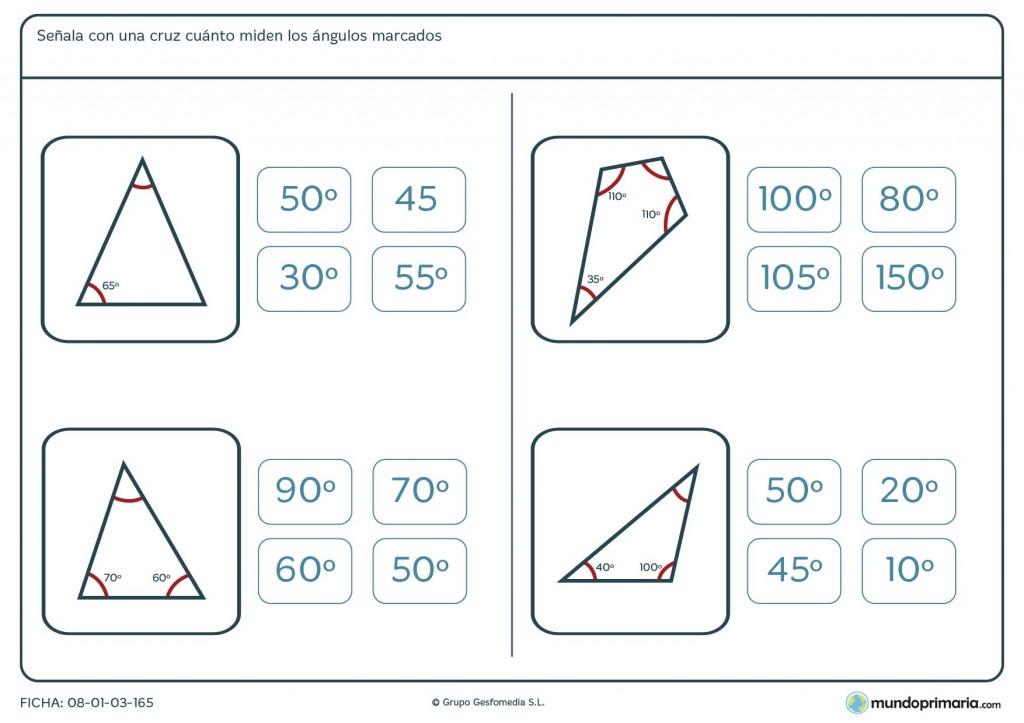 Ficha de grados de ángulos para niños de 6º de primaria