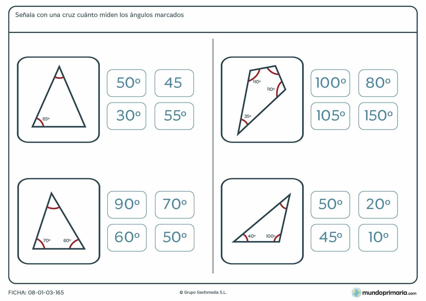 Ficha de grados de ángulos. Resolver la medida del ángulo marcado sin medida.
