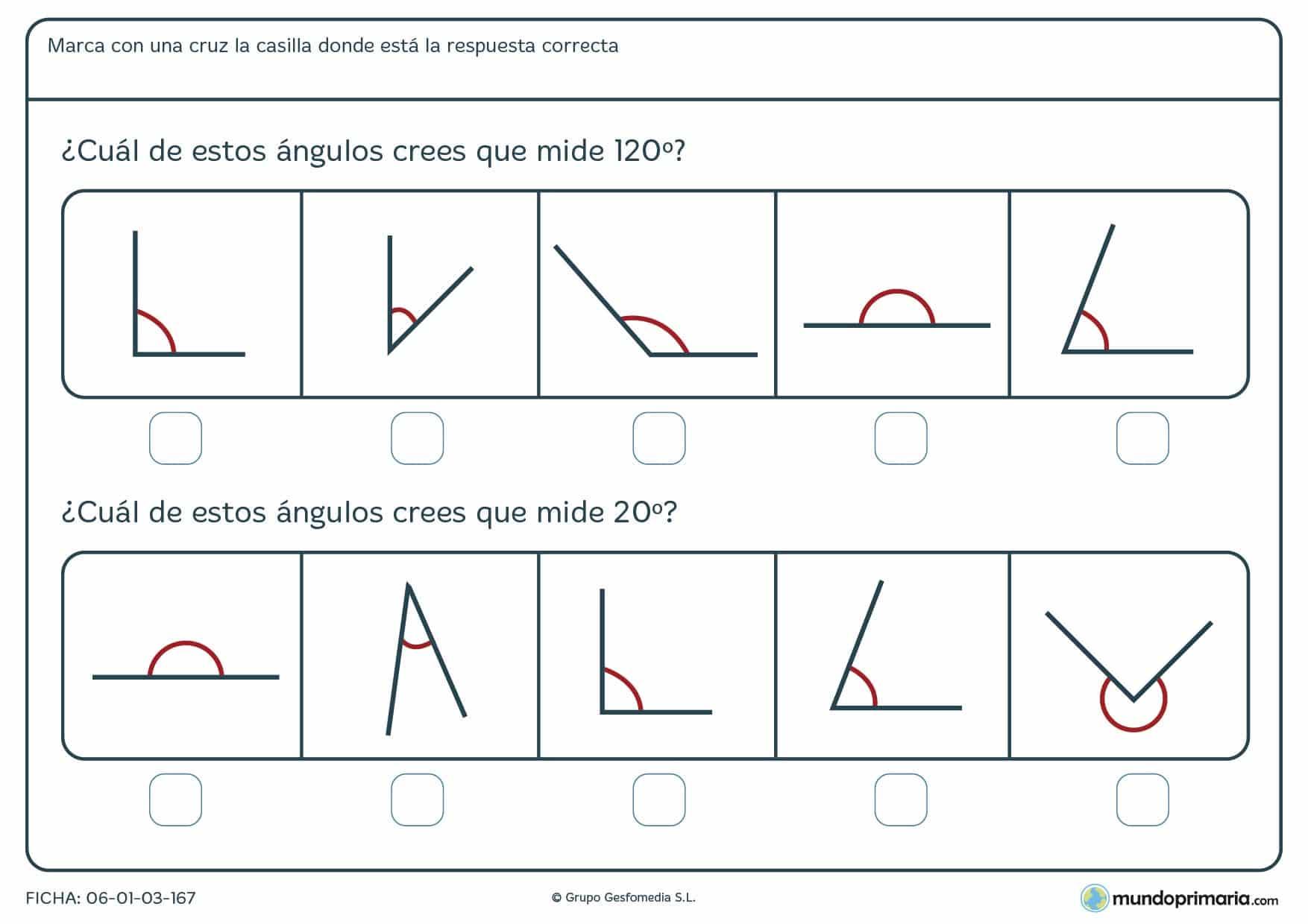 Ficha de grados de ángulos, para resolver solo con la percepción óptica de las imágenes y marcar así la respuesta que creas correcta.