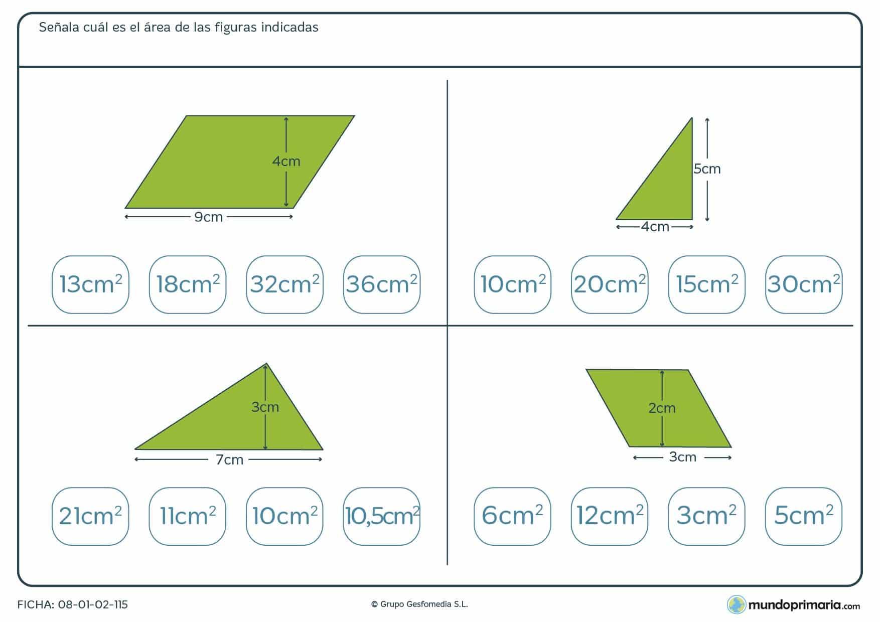 Ficha de hallar áreas de polígonos teniendo los datos de su base y altura.