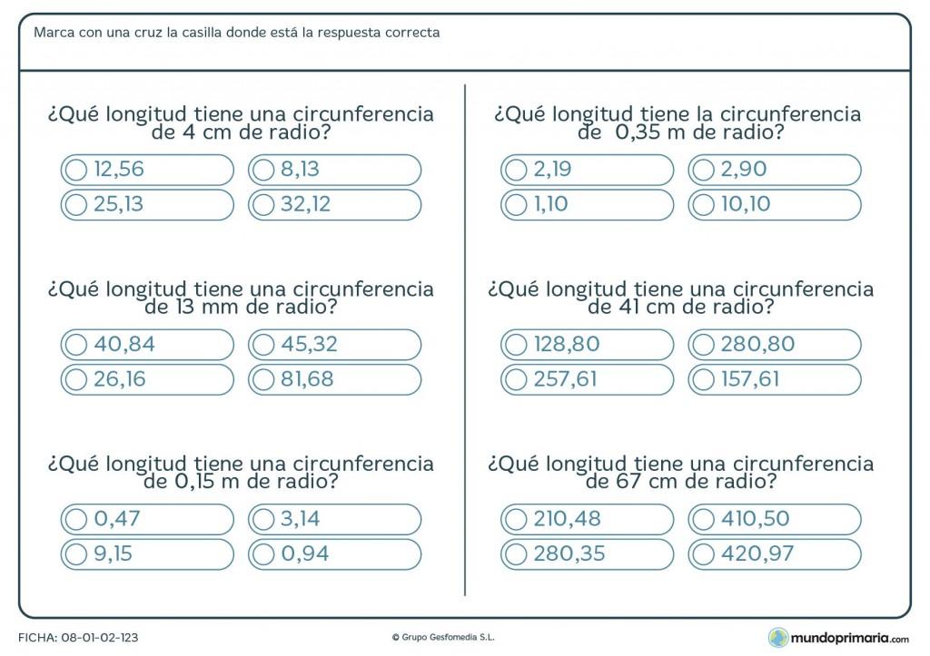 Ficha de hallar longitud circunferencia para primaria