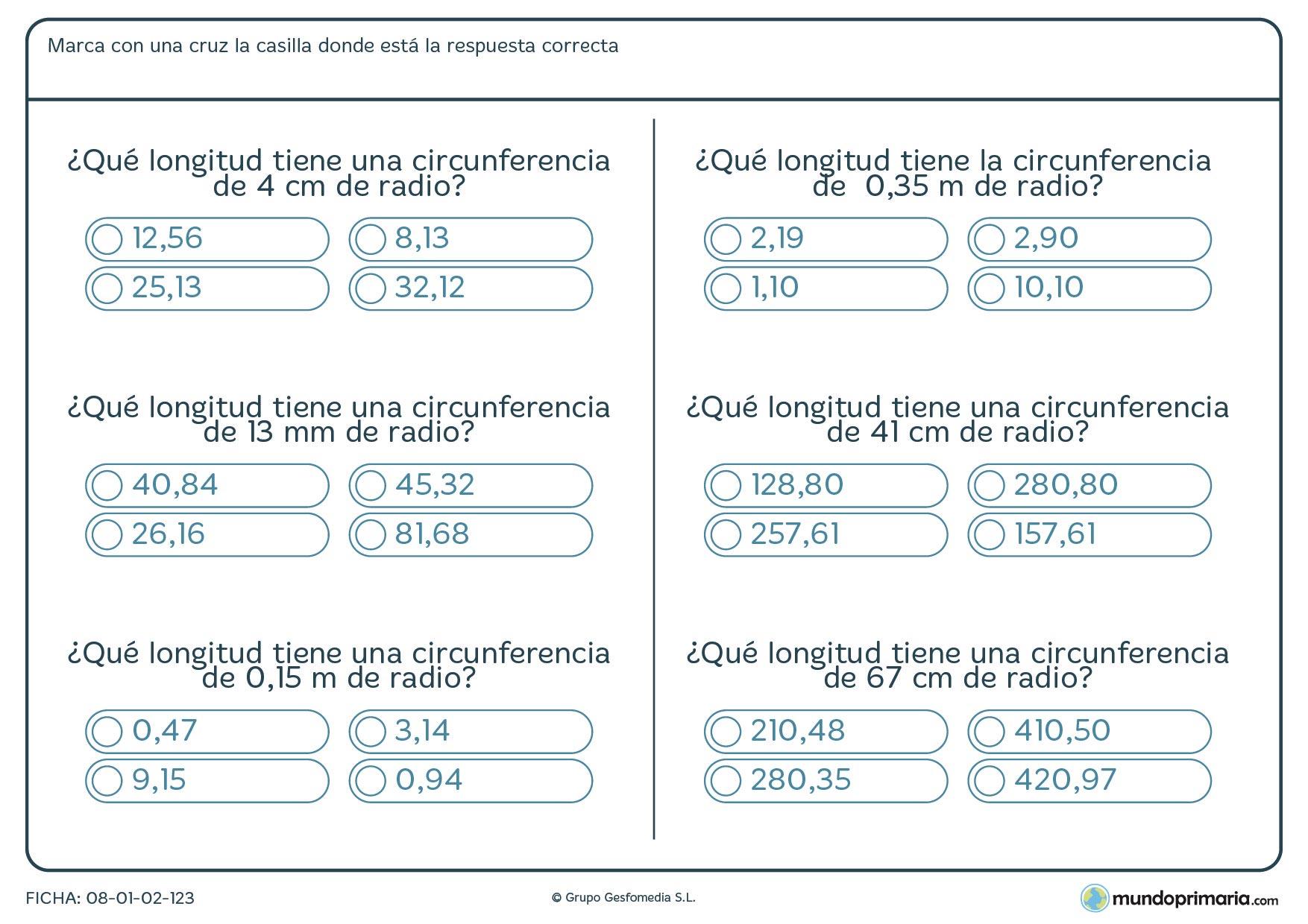 Ficha de hallar longitud circunferencia para hallar sabiendo su radio.