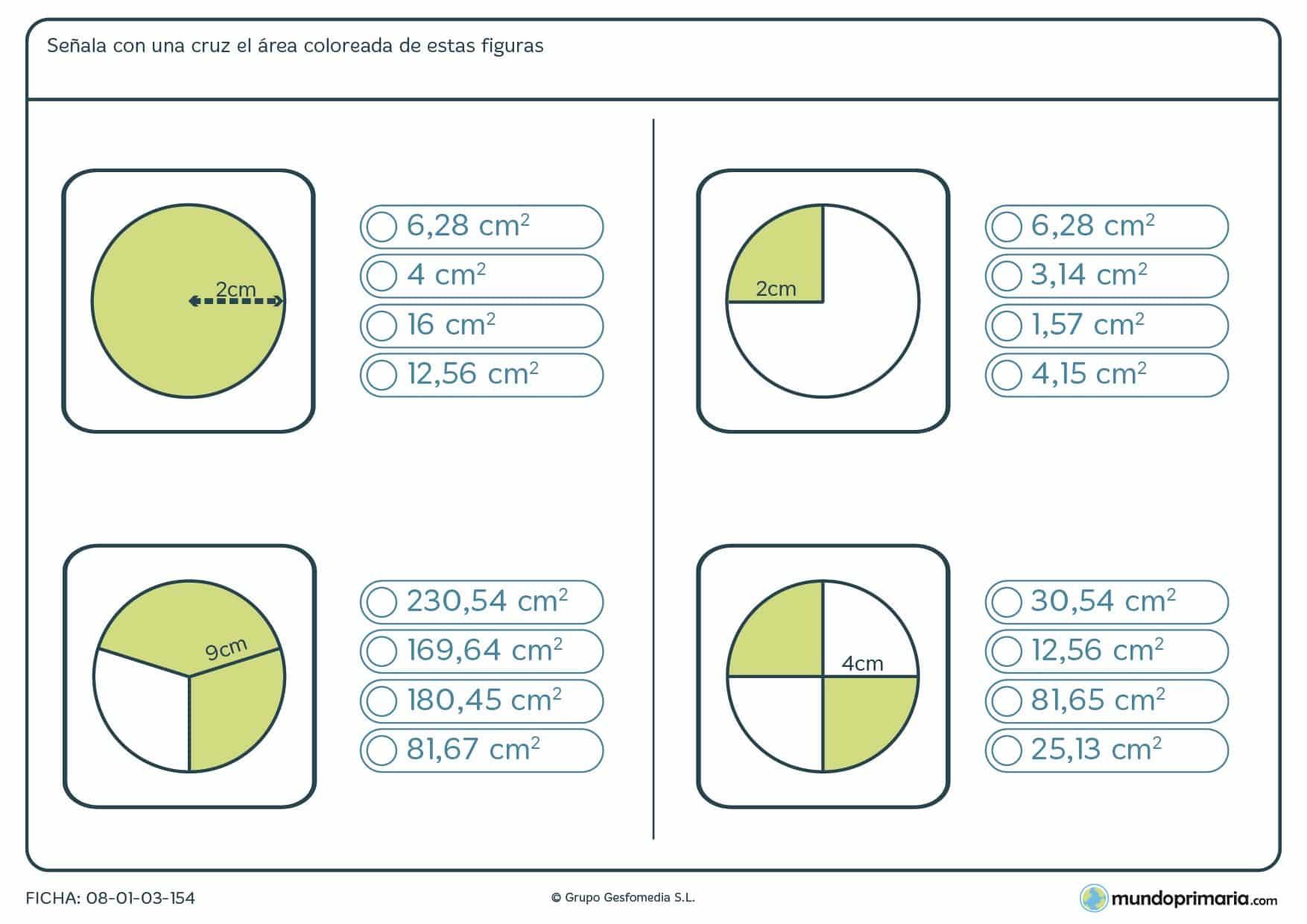 Ficha de hallar parte de área de un círculo contando con datos como el radio de la circunferencia.