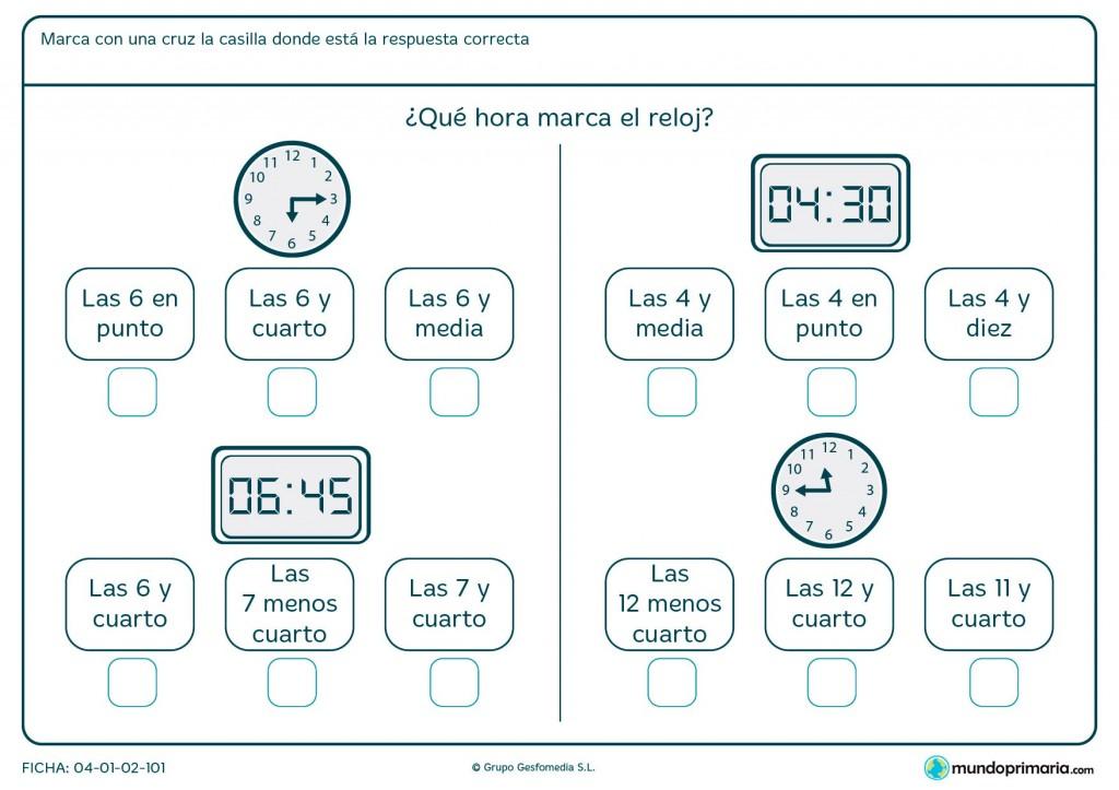 Ficha de hora en digital y analógico para primaria
