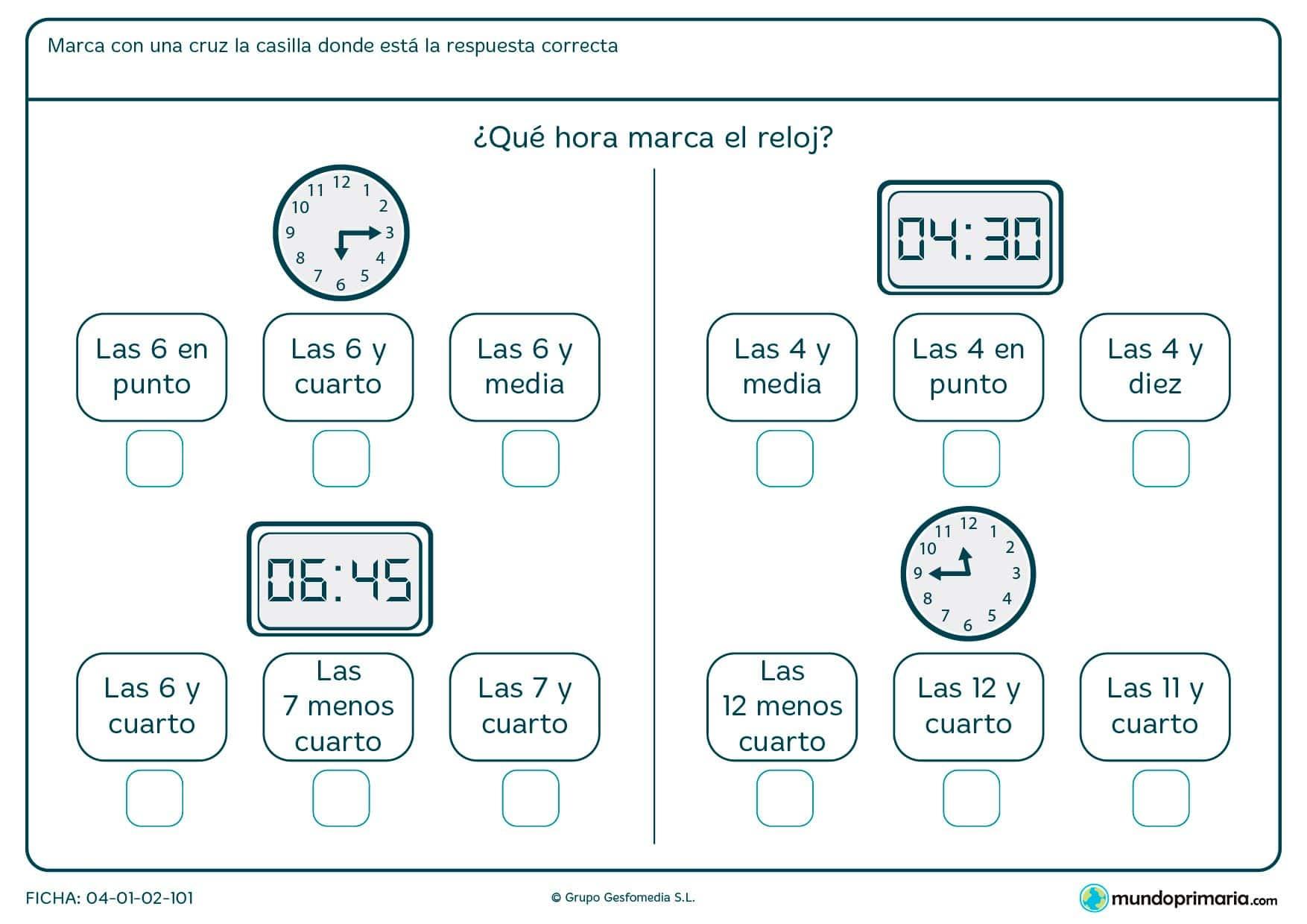 Ficha de hora en digital y analógico. Pon la x en la hora que se correponde con el reloj.
