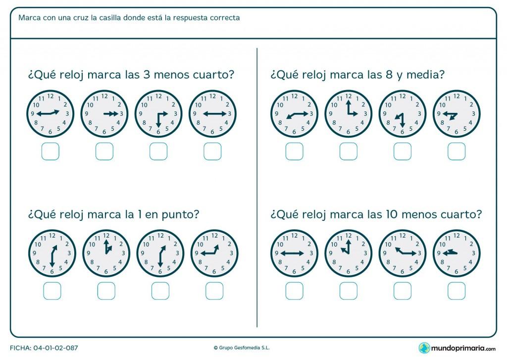 Ficha de hora y media para primaria