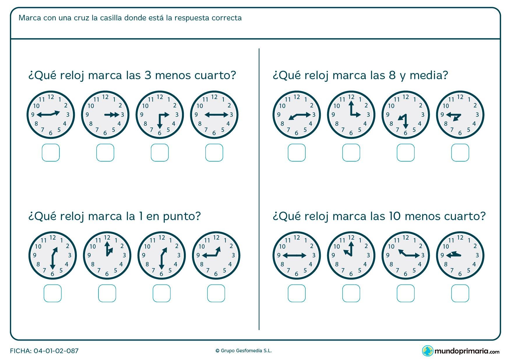 Ficha de hora y media, hora en punto, cuartos de hora. Elige el reloj correcto.