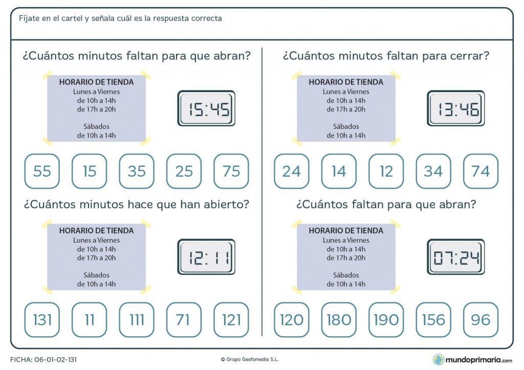 Ficha de horario de tienda para 4º de primaria