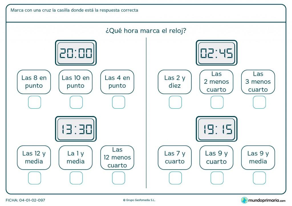 Ficha de horario digital para segundo de primaria
