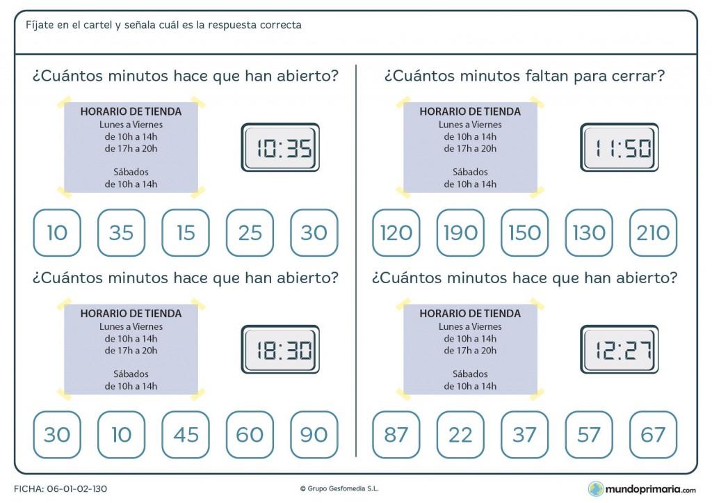 Ficha de horarios para primaria