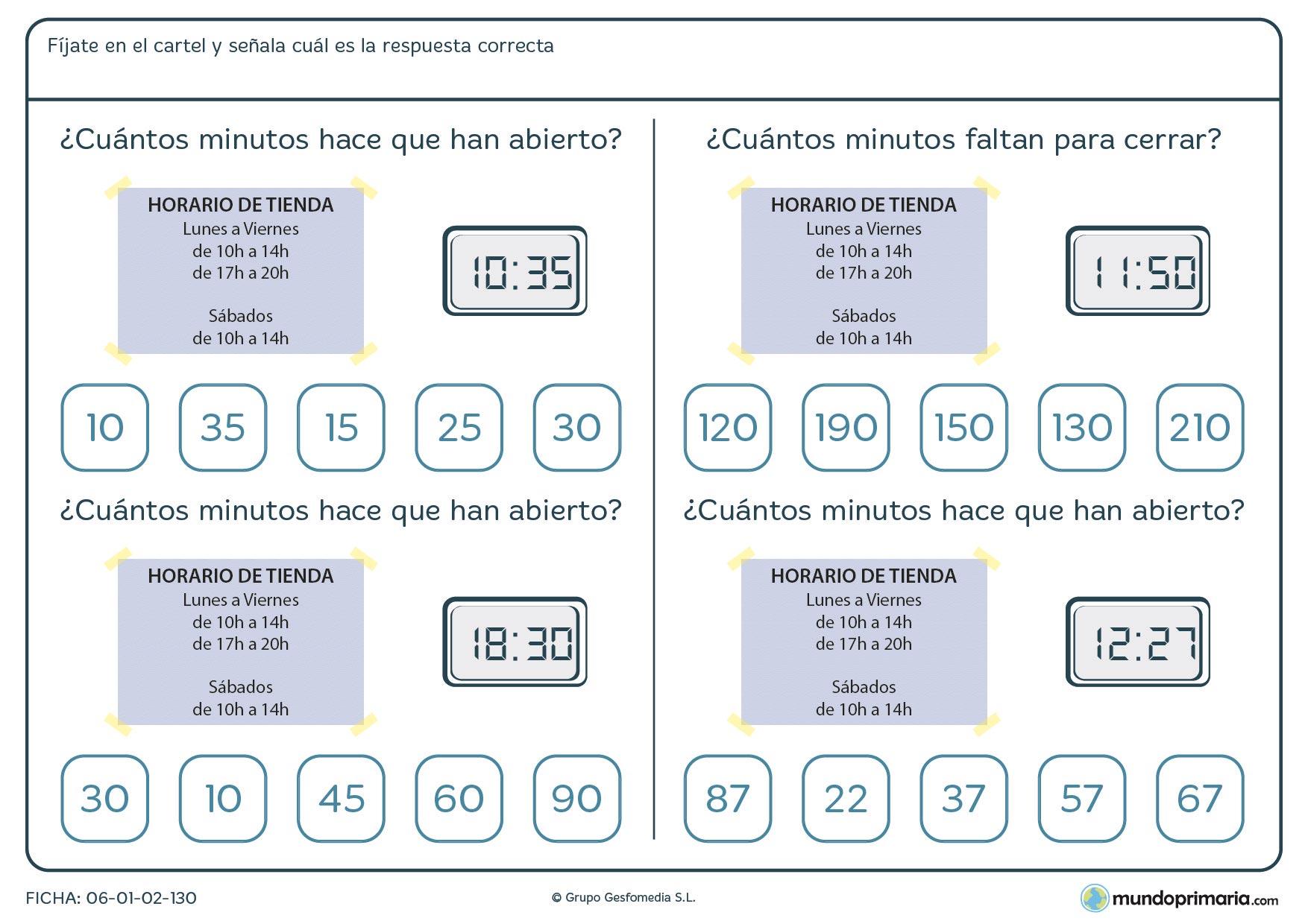 Ficha de horarios en la que se te muestra el horario de una tienda y con esos datos debes contestar correctamente a las preguntas.