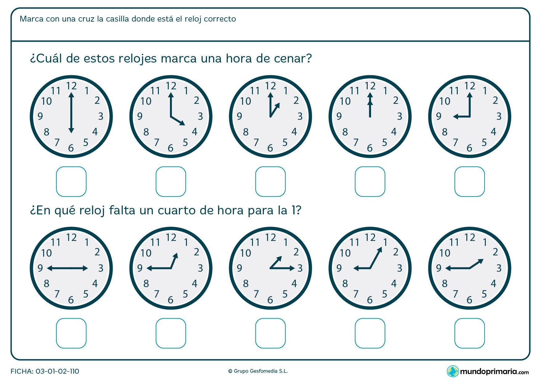 Ficha de horas de cenar en la que has de señalar el que marca una hora aproximada de la cena normalmente.
