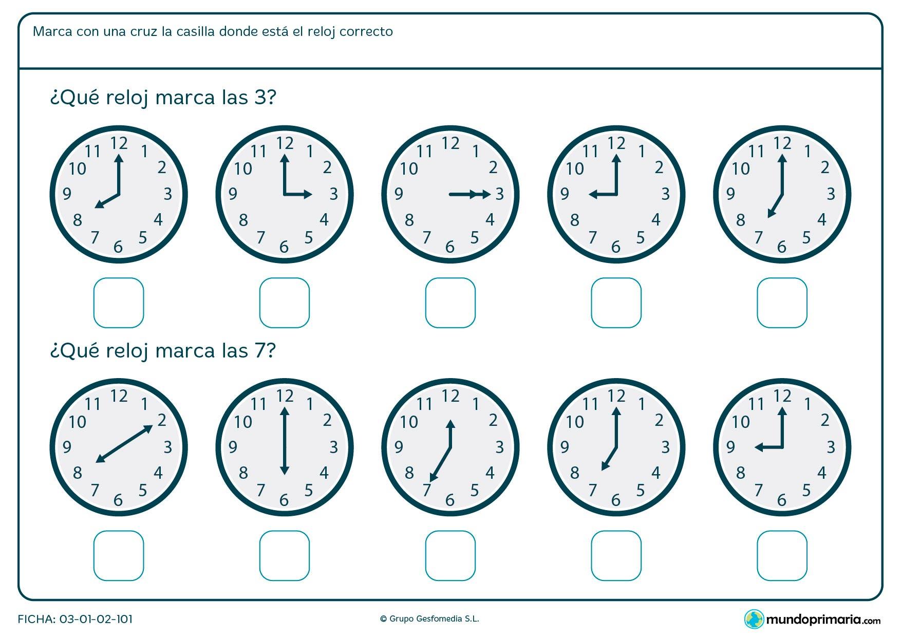 Ficha de horas de reloj en la que debes señalar los relojes que marcanlas horas en punto que te pedimos.