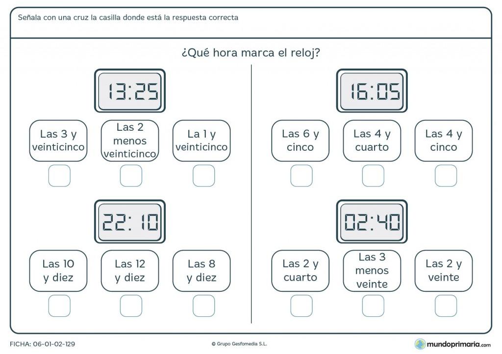 Ficha de horas digitales para niños de 9 años